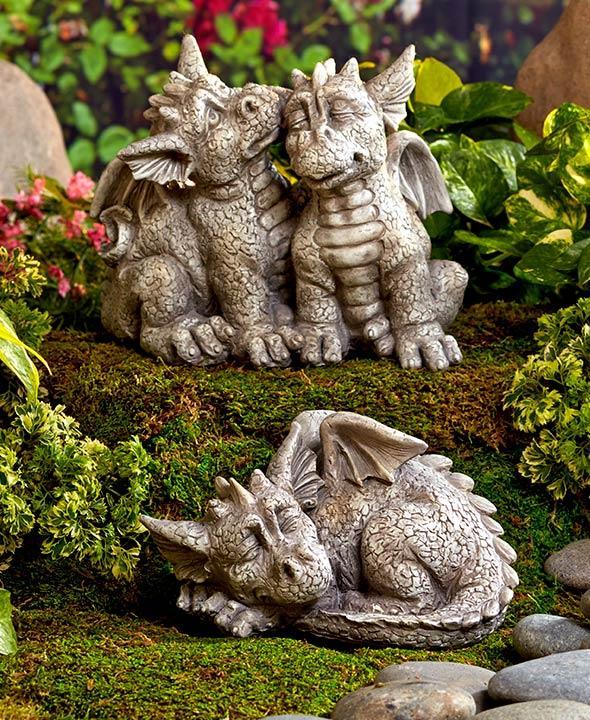 Mythical Sleeping Baby Dragon Pair Or Set Garden Statue Sculptures Yard Art New Ebay