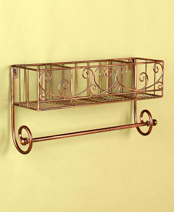 new bathroom kitchen organizer wall shelf towel rod rack. Black Bedroom Furniture Sets. Home Design Ideas