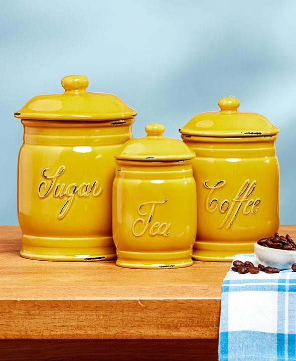 NEW 3PC Classic Ceramic Canister Set Embossed Sugar Coffee