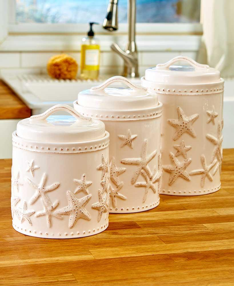 New set of 3 seaside starfish coastal beach kitchen for Signoraware organise your kitchen set 8 pieces