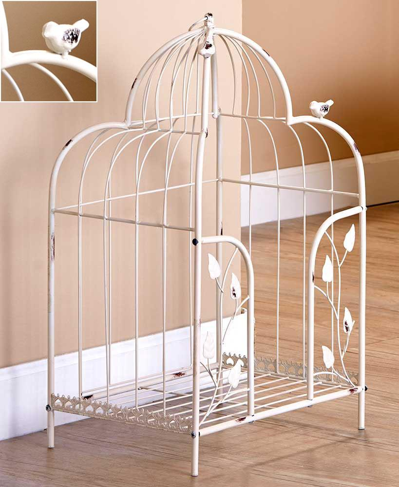 Each piece has a cream colored  antiqued finish with a birdcage inspired  design and metal bird accents  The Towel Stacker. NEW Vintage Birdcage Bathroom Towel Stacker Storage Organizer Rack