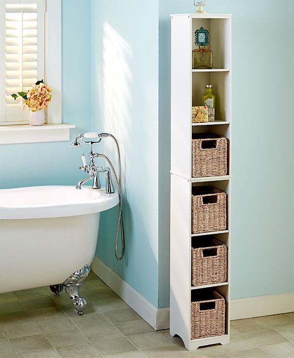 New slim storage tower cabinet shelf cubby seagrass - Bathroom storage baskets shelves ...
