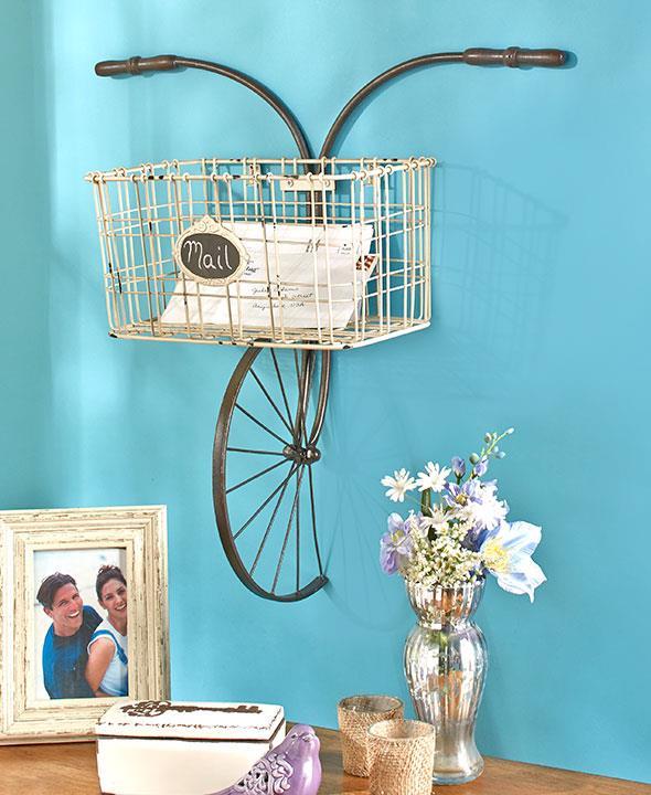 new unique antique metal bike bicycle storage wall basket mail holder planter ebay. Black Bedroom Furniture Sets. Home Design Ideas