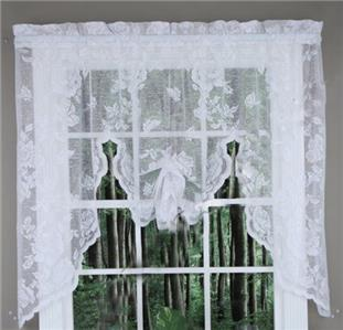 new abbey rose vintage lace curtains swag valance white 63 or 84 panels ebay. Black Bedroom Furniture Sets. Home Design Ideas