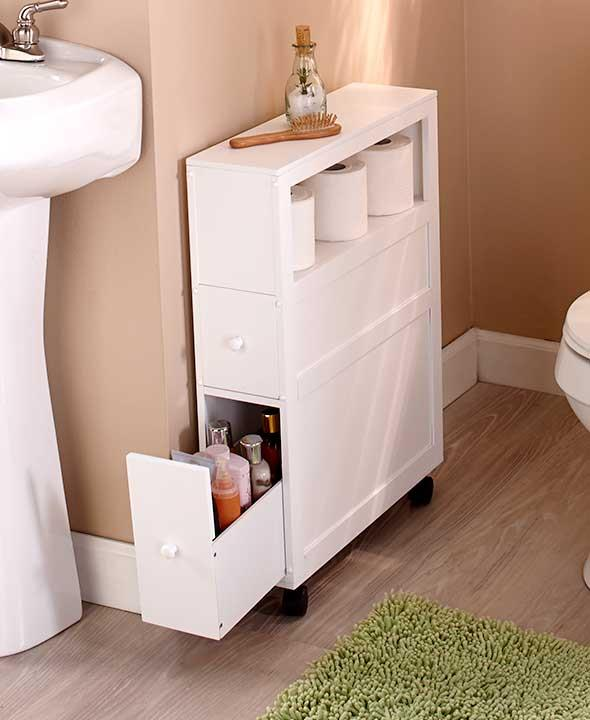 NEW Rolling Slim Bathroom Storage Organizer Cabinet Toilet Brush Black Or White