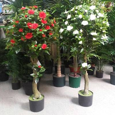 Artificial plant 2x 120cm camellia topiary red plant for Artificial plants for decoration