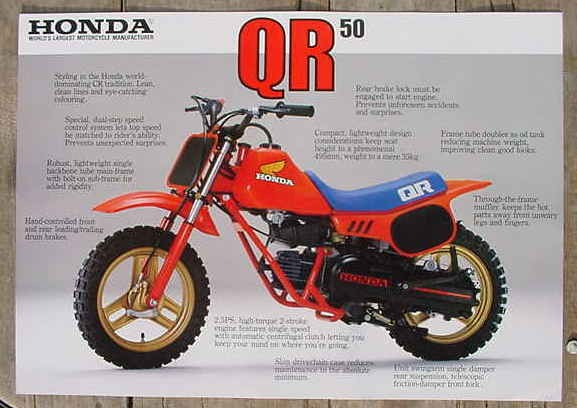 1983 honda qr50 mini bike motorcycle shop advertising. Black Bedroom Furniture Sets. Home Design Ideas