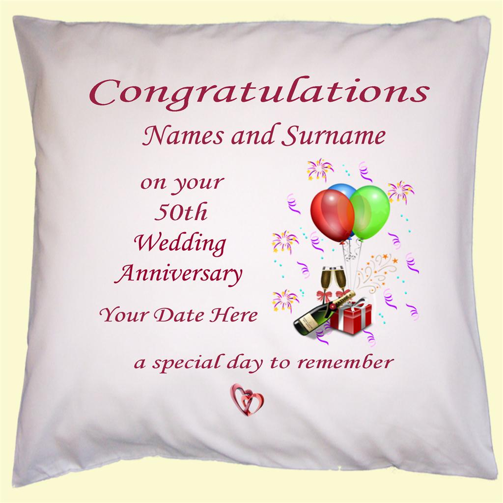 List Of 50th Wedding Anniversary Gifts : Details about PERSONALISED 50th WEDDING ANNIVERSARY GIFT CUSHION COVER ...