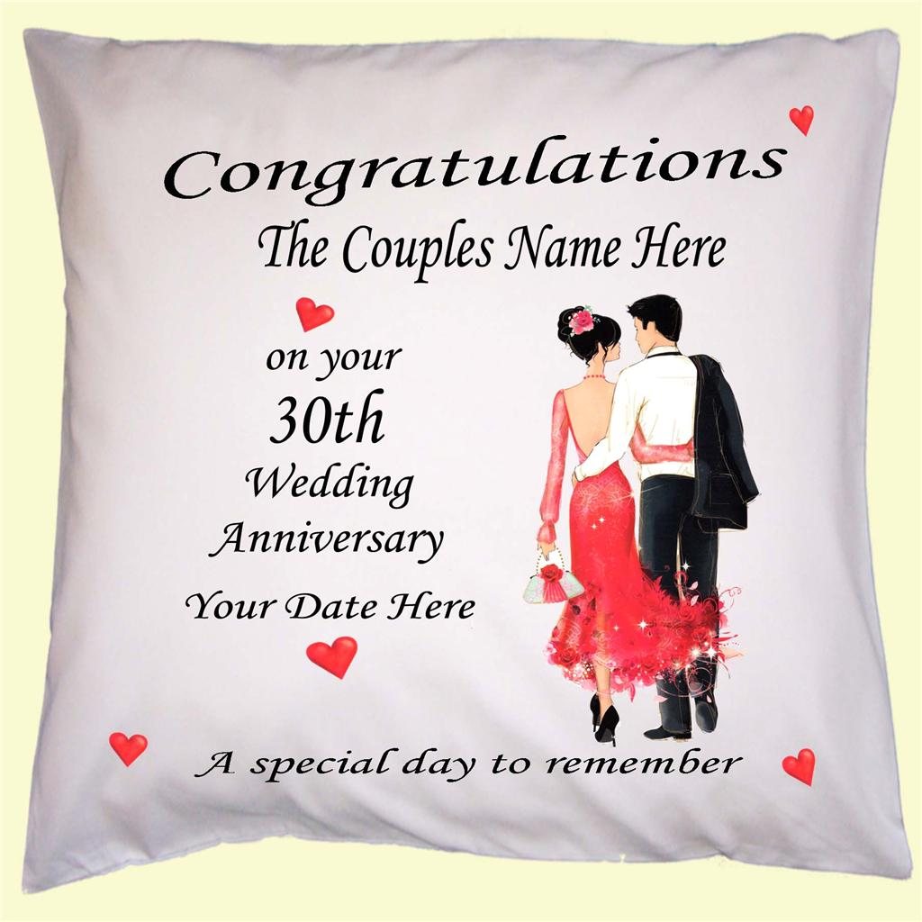 WEDDING ANNIVERSARY PERSONALISED GIFT CUSHION COVER NAME DATE YEAR 30th 1 To 60