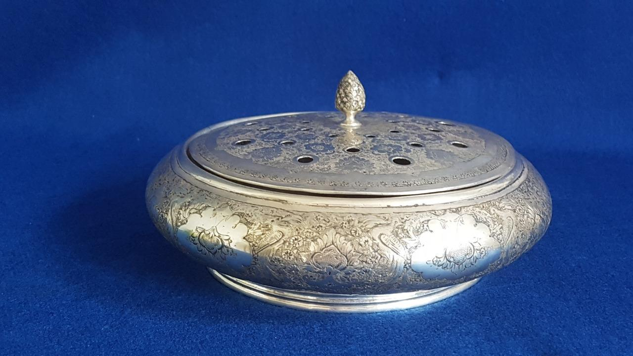 Splendid Early 20th Century Lidded Sterling Silver Persian Lge Potpourri Holder
