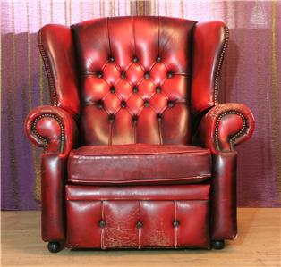 leather oxblood chesterfield wing back recliner queen anne wing back