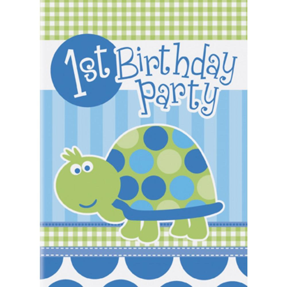 Baby boy first birthday turtle invitations pack of 8 party for 1st birthday decoration packs