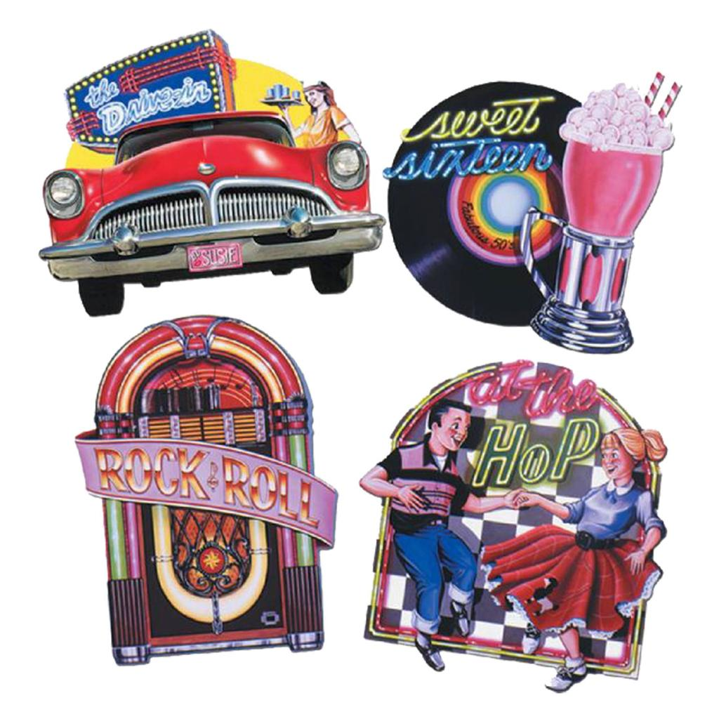 Awesome large 50s diner rock and roll theme cutouts party for Decoration annee 50 americaine