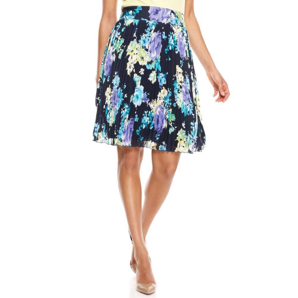 charter club flower floral navy blue pleated chiffon skirt