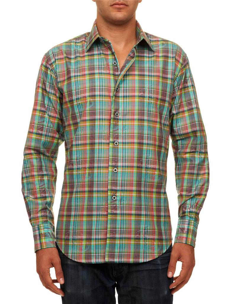 Robert graham malaga auqa plaid paisley jacquard tailored for Robert graham sport shirt