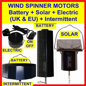 6 X Motors Solar Electric Battery 4 Wind Spinners