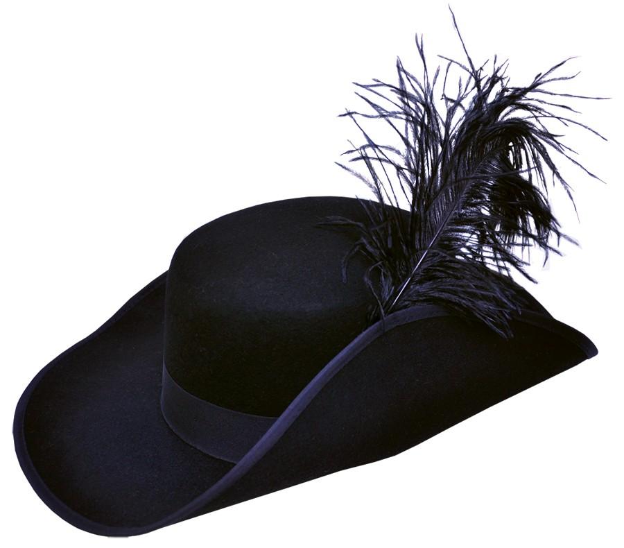 Cavalier Hat Black Pirate Musketeer Costume Swashbuckler Buccaneer Men