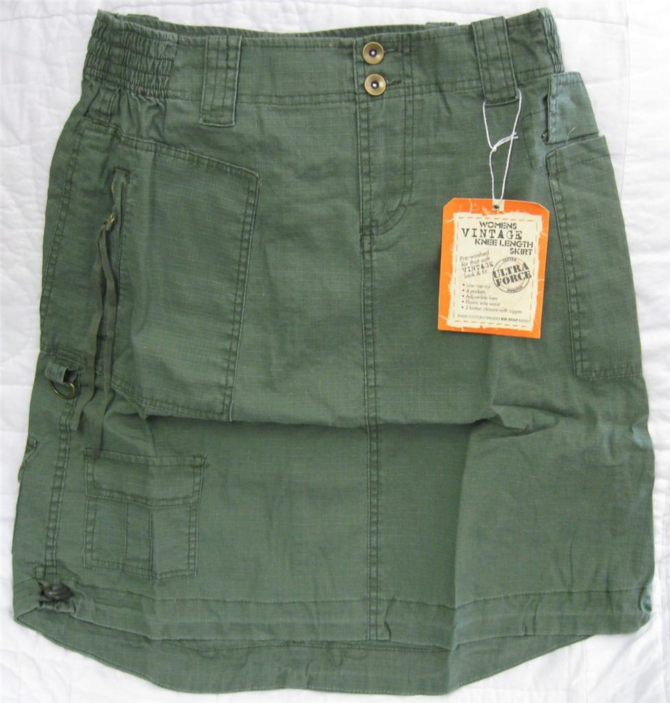 NEW Olive Drab OD Green Low Rise Ramie Cotton Spandex Rip-Stop 4 Pocket Skirt