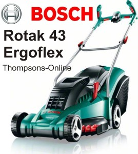 bosch rotak 43 ergo flex electric rotary wheeled lawn mower thompsons discount. Black Bedroom Furniture Sets. Home Design Ideas