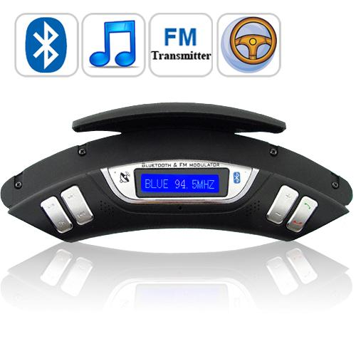 Bluetooth-Car-Kit-FM-Transmitter-MP3-Player-w-Mic-Speaker-Steering-Wheel-Control