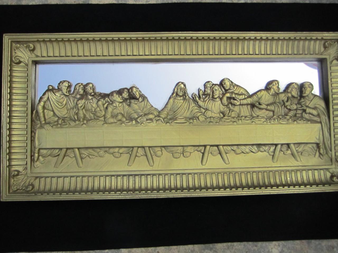 3d vintage ornate plastic gold last supper framed mirror. Black Bedroom Furniture Sets. Home Design Ideas