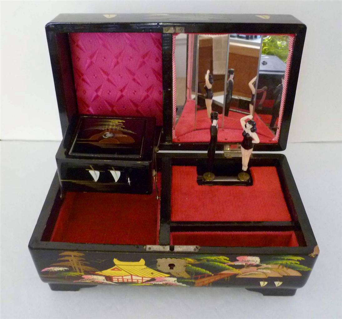 vintage black lacquer wood asian music jewelry box