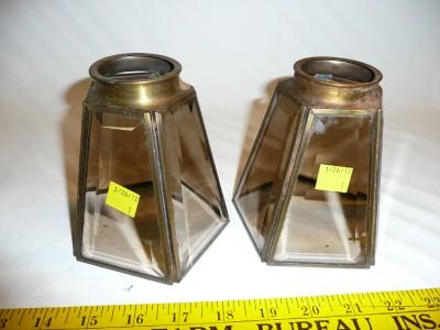 2 vtg soldered brass beveled glass replacement shade. Black Bedroom Furniture Sets. Home Design Ideas