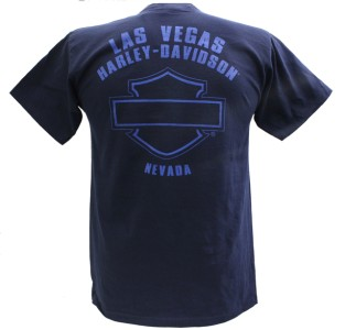 Davidson Las Vegas Dealer Tee T Shirt Pinup Girl BLUE MEDIUM #RKS