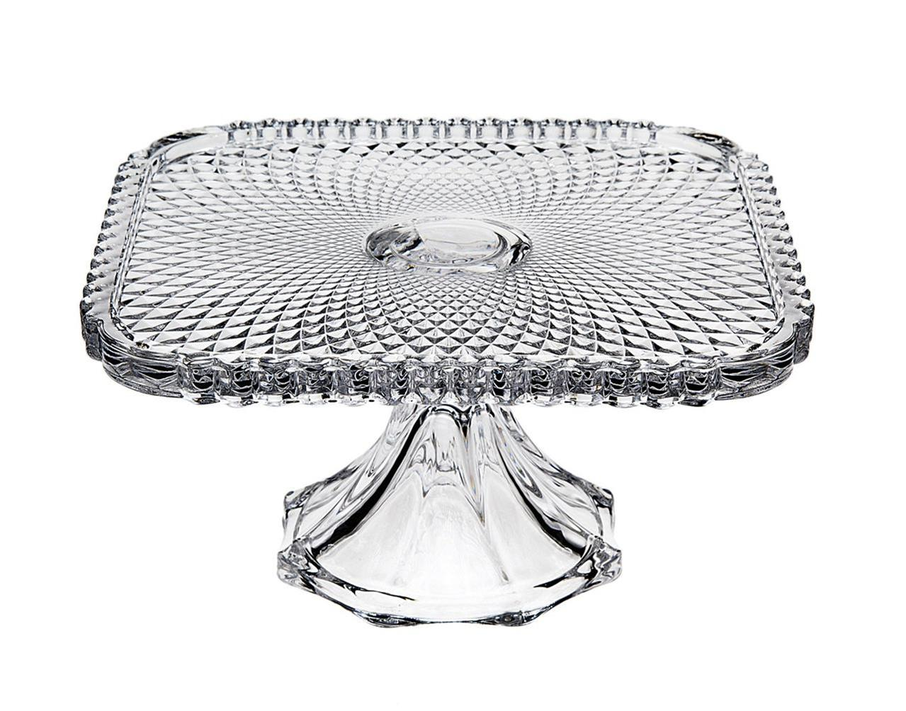 "Godinger Belmont Heirloom Glass 12"" Square Cake Plate Stand  4 Colors AVAILABLE"