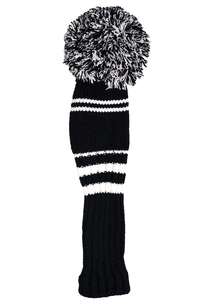 Premium-Knitted-Pom-Pom-Golf-Club-Headcovers-Black-White-FREE-UK-P-P