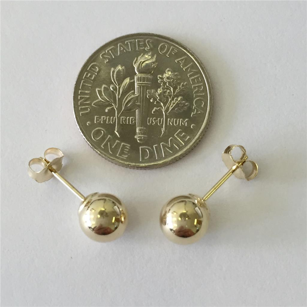 14k solid yellow gold stud earrings sizes 3mm 4mm 5mm