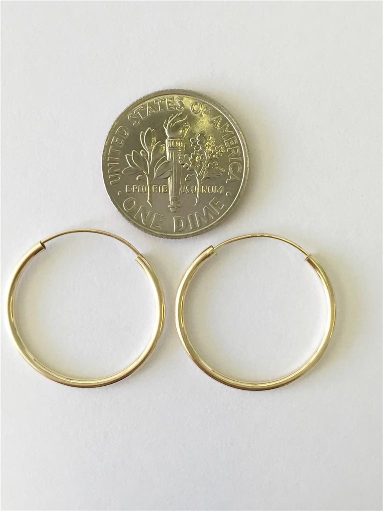 14k 10mm 12mm 16mm 20mm 25mm yellow gold hoops endless hoop earrings