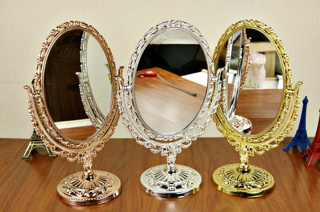 gold silver bronze vanity make up cosmetic table bathroom mirror on foot stand ebay. Black Bedroom Furniture Sets. Home Design Ideas