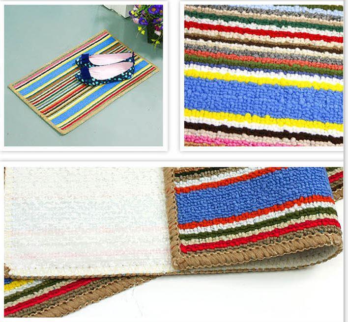 53 x 34 Colorful Stripes Pad Rug Shaggy Door Mat Carpet