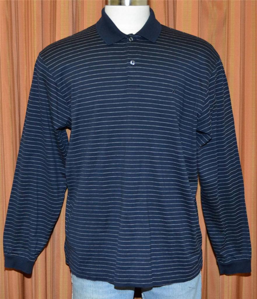 Nautica long sleeve navy blue white 100 cotton striped for Navy blue striped long sleeve shirt