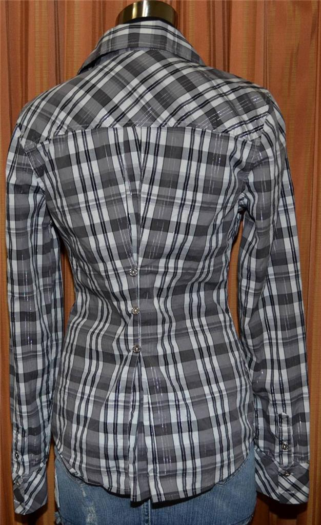 Guess jeans stretch long sleeve black gray white plaid for Grey plaid shirt womens