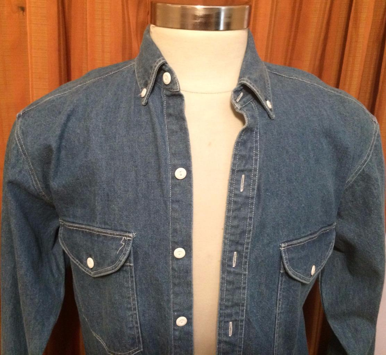 Gap long sleeve blue 100 cotton button down heavy denim for Heavy button down shirts