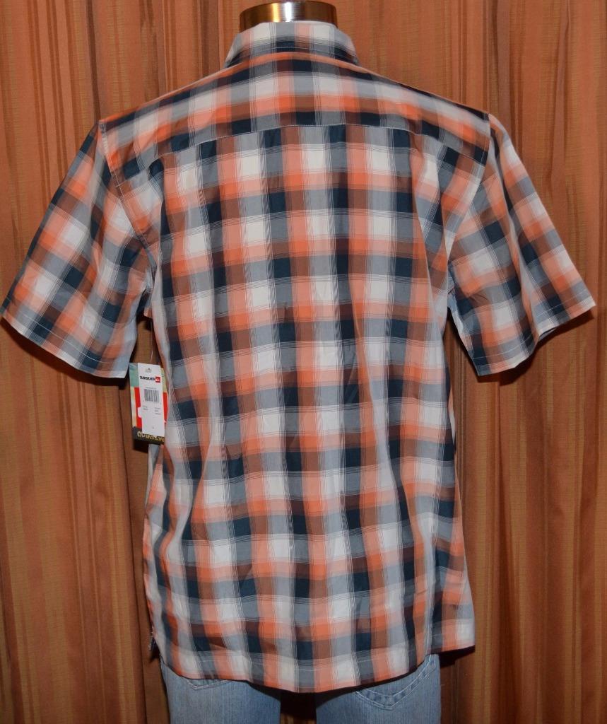 Quiksilver short sleeve orange navy blue polynosic plaid for Navy blue plaid shirt