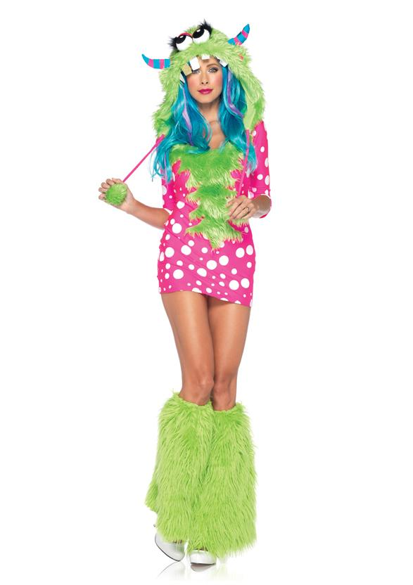 womens furry pink green melody monster dress outfit adult halloween costume new - Halloween Costume Monster