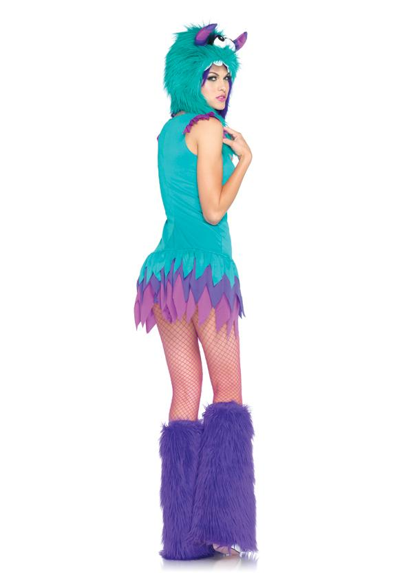 Sexy Furry Fuzzy Frankie Blue Monster Dress and Hoodie Women's