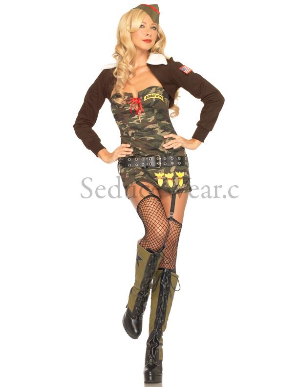 Sexy Bombin Betty Army Pin Up Dress Outfit Womens Adult Halloween