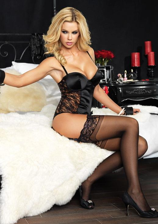 Sexy Lingerie Satin And Lace Padded Underwire Teddy With Attached Garter Straps