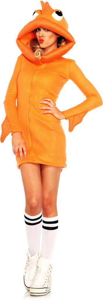 Womens cute orange goldfish fish animal dress outfit adult for Fish costume women