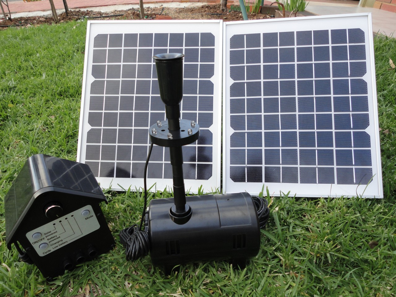20w solar panel pond water fountain solar pump w battery for Solar water pump pond