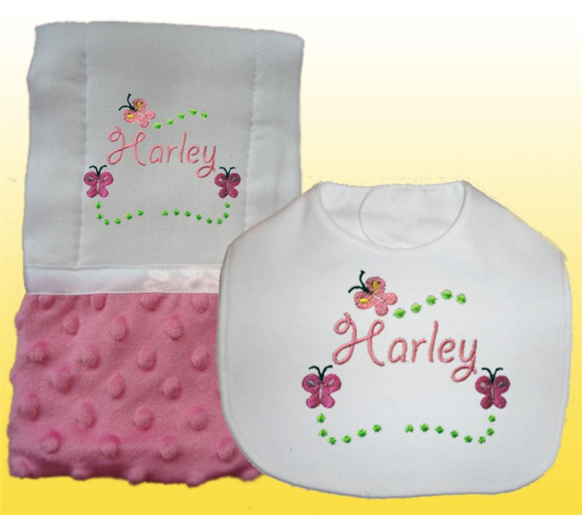New Personalized Handmade Pink Minky Baby Girl Bib Burp