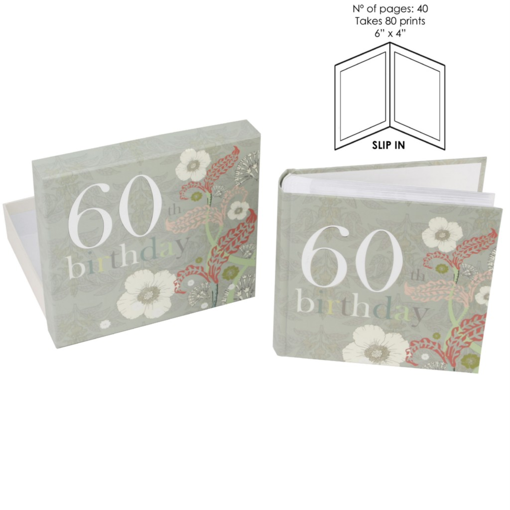 60th birthday gift floral photo album in gift box womens for Gardening 60th birthday gifts