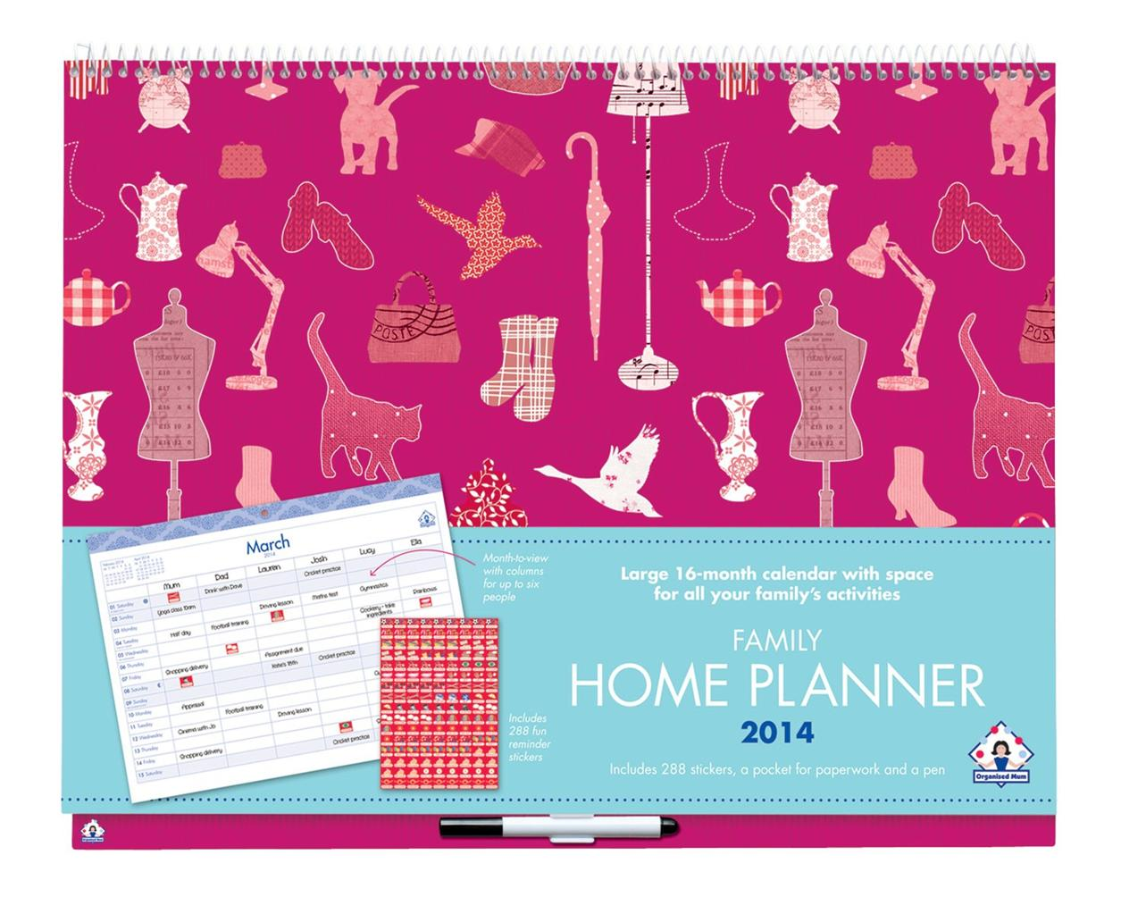 Calendar Home Planner : Organised mum family home planner calendar useful