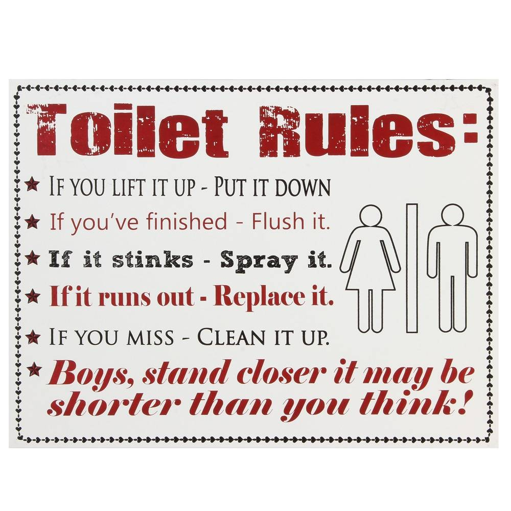 Toilet Rules Wooden Sign - Modern Bathroom Toilet ...