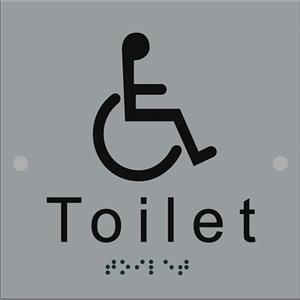 Braille toilet sign stainless steel disabled for Stainless steel bathroom signs