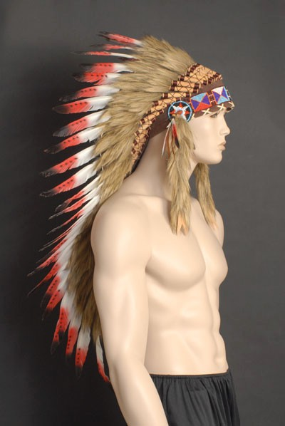 ... DELUXE-RED-NATIVE-INDIAN-CHIEF-HEADDRESS-80CM-LONG  sc 1 st  eBay & DELUXE RED NATIVE INDIAN CHIEF HEADDRESS 80CM LONG | eBay